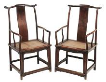 Pair Antique Chinese Hardwood Scholars' Chairs