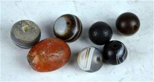 7 Antique Chinese Carnelian and Agate Beads