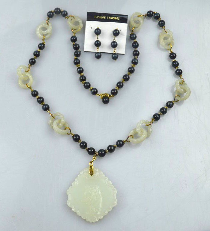 Old Chinese White Jade Pendant 14K & Bead Necklace