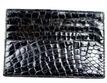 Vintage Italian Black Alligator Large Calling Card Case