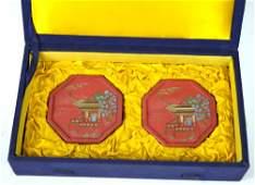 Pr Chinese Cinnabar Vermillion Ink Cakes in Box