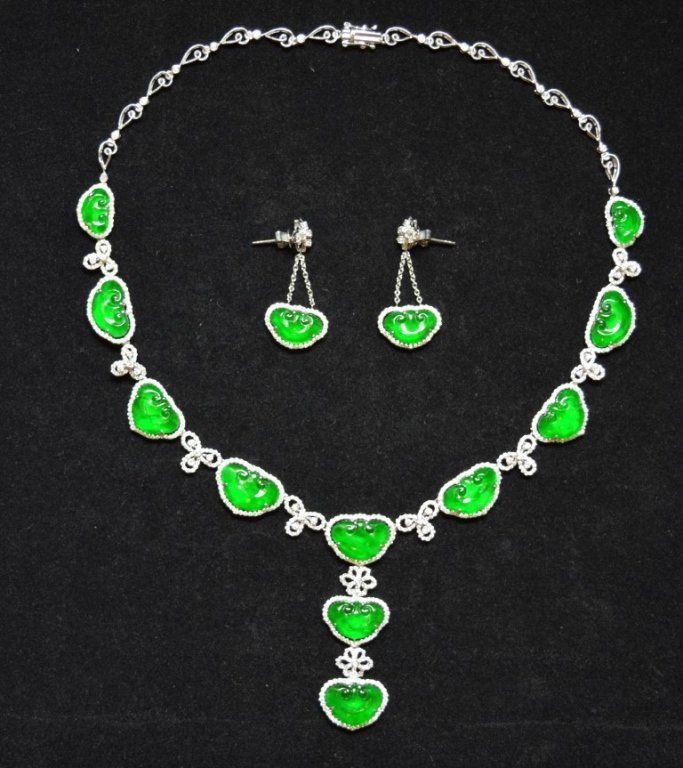 Emerald Green Jadeite & Diamond Necklace & Earring Set