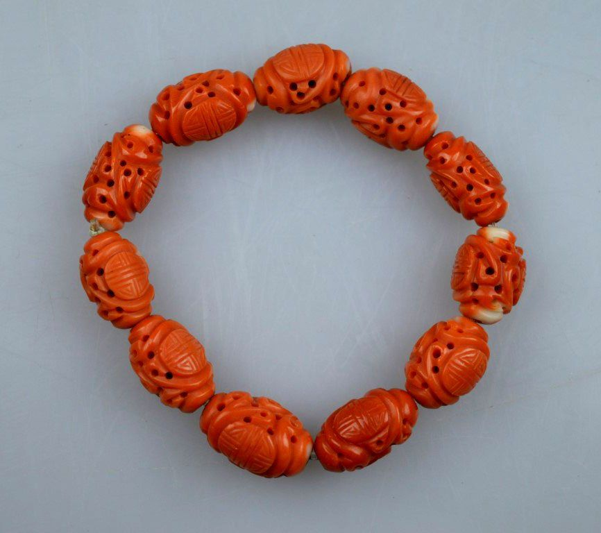 11 Antique Chinese Carved Coral Dragon/Shou Beads