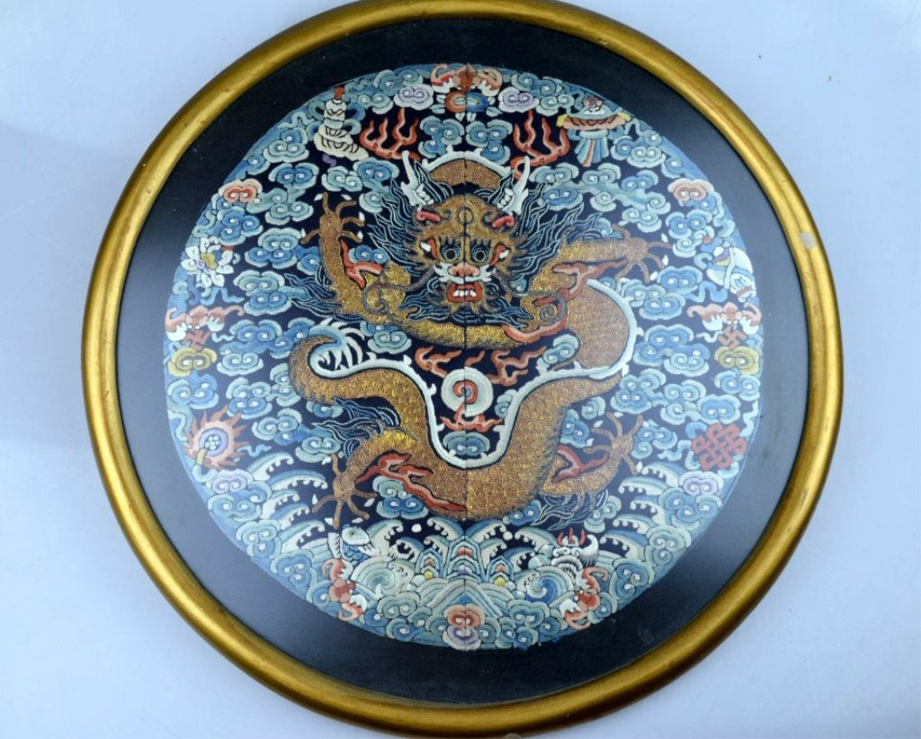 Chinese Silk Embroidered 5-Claw Dragon Roundel