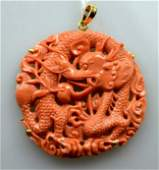 Antique Carved Chinese Coral Dragon Pendant