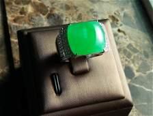 Bright apple green jadeite jade man's ring