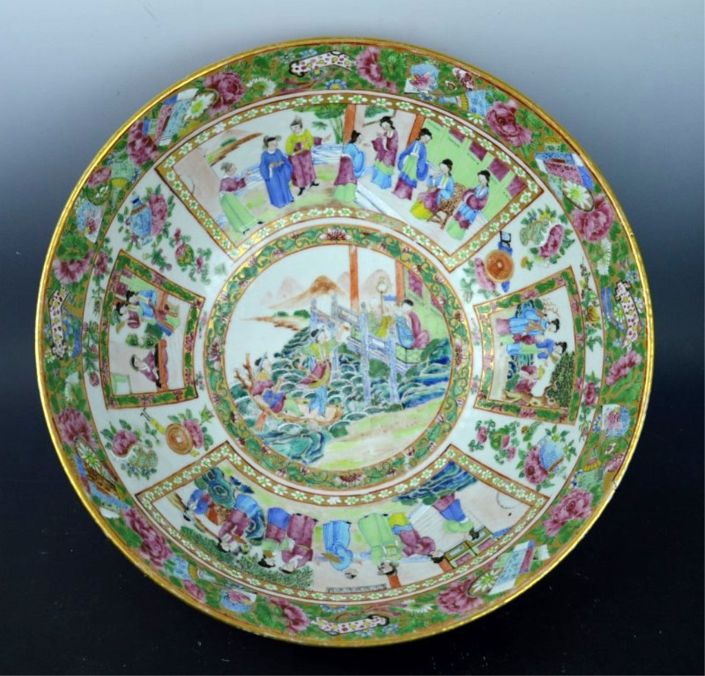 Chinese Enameled Porcelain Rose Medallion Punch