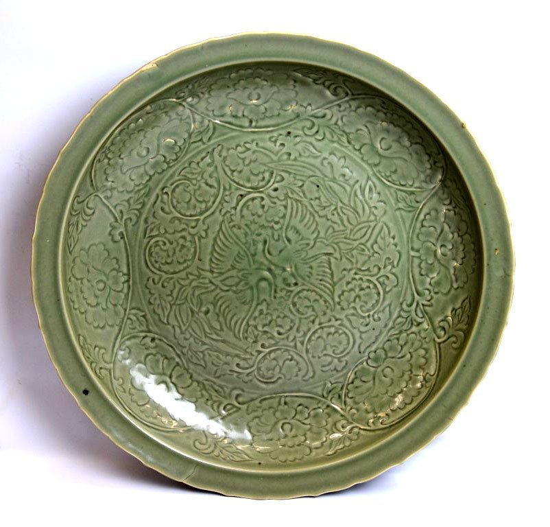 Large Rare Yuan/Ming Fine Chinese Carved Plate