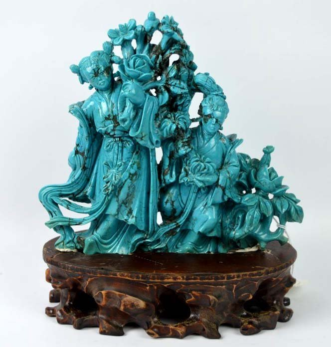 Chinese Carved Large Turquoise of Beauties