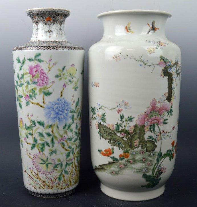 2 Chinese Republic Enameled Porcelain Vases