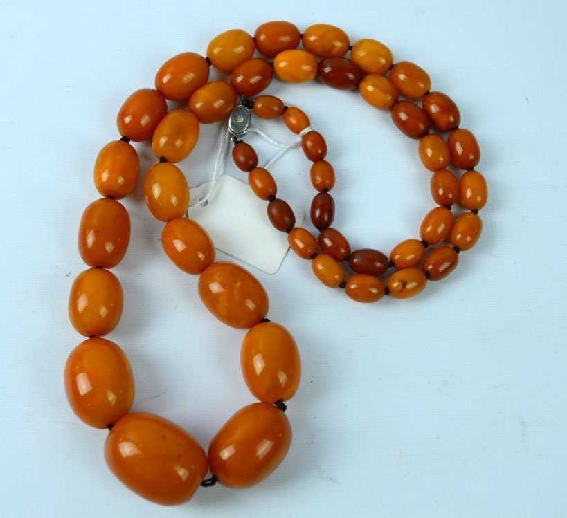 78.2 Grams; Old Butterscotch Amber Bead Necklace