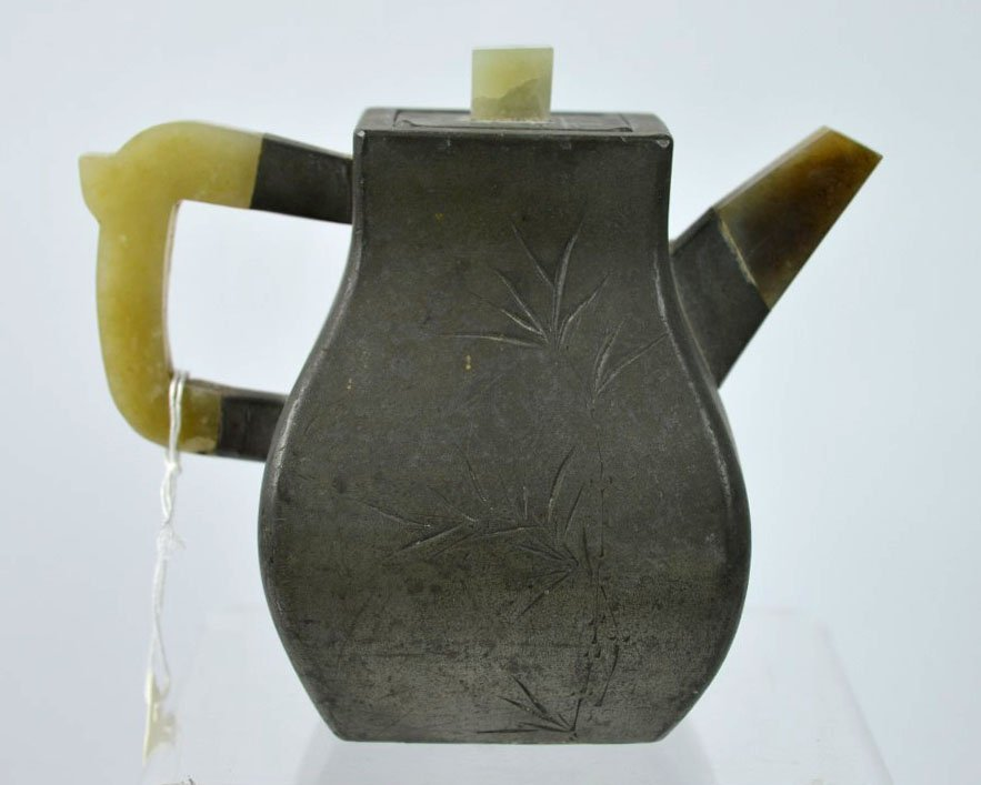Chinese Incised Pewter over Yixing Teapot w Jade