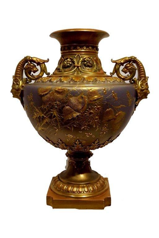 Metal Enameled Royal Worcester Handled Urn