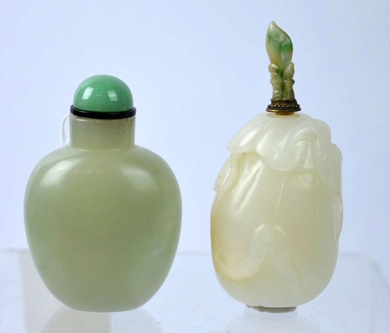 Chinese Carved White Jade Pebble Snuff; 2nd Jade