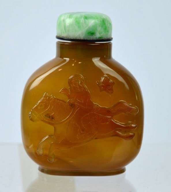 19th C Chinese Carved Monkey & Horse Snuff