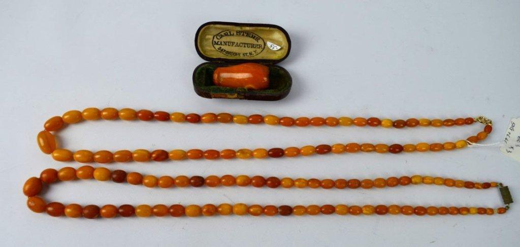 Group; 56 Grams Butterscotch Amber Beads & Holder