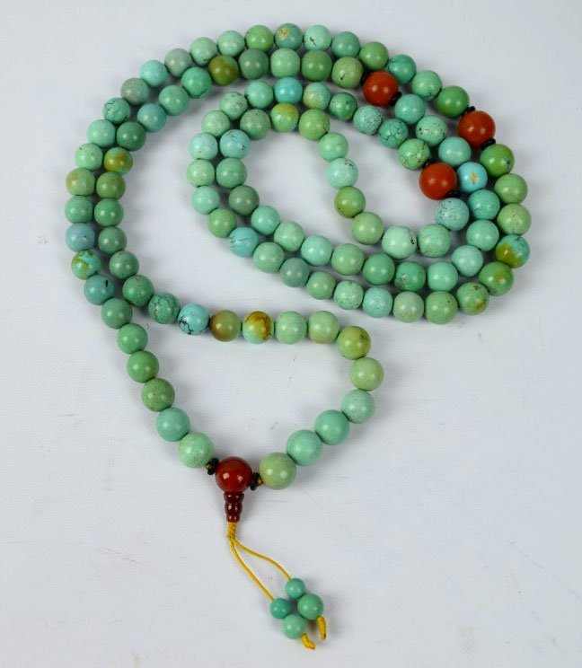 108 Bead Chinese Rosary of Old Turquoise & Agate