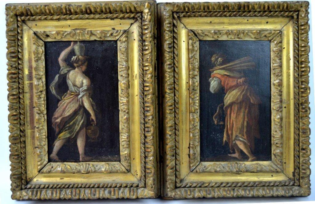 Pair 16/17th C Italian Oil on Copper Paintings