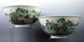 Pr Early 20th C Chinese Porcelain Landscape Bowls