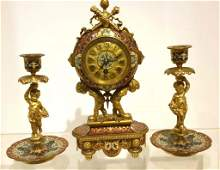 French Gilt Bronze  Champleve Enamel Clock Set