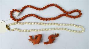 Chinese Red Jadeite Beads, Pearls, 21.5Gm Coral