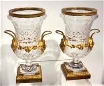 Pair Gilt Bronze Mounted Cut Crystal Urns