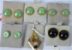Group Chinese Jadeite and Gold marked 14K 585