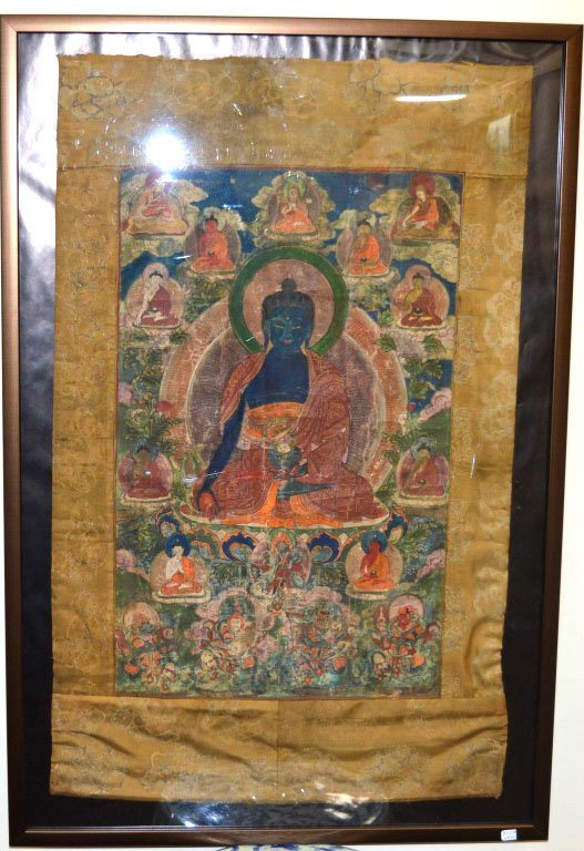 19th C Tibet Thanka with Embroidered Borders