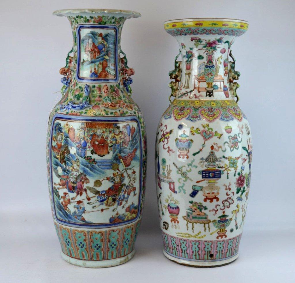 2 Large 19th C Chinese Enameled Porcelain Vases