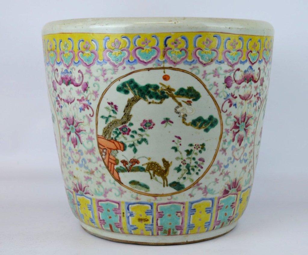 19th C Chinese Enameled Porcelain Planter