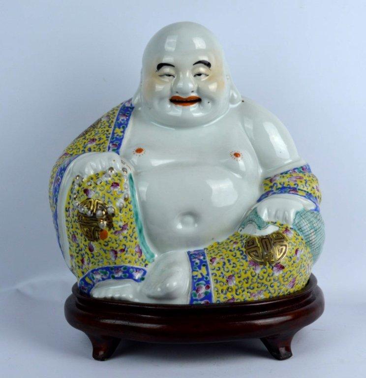Chinese Enameled Porcelain Hotai Buddha & Stand