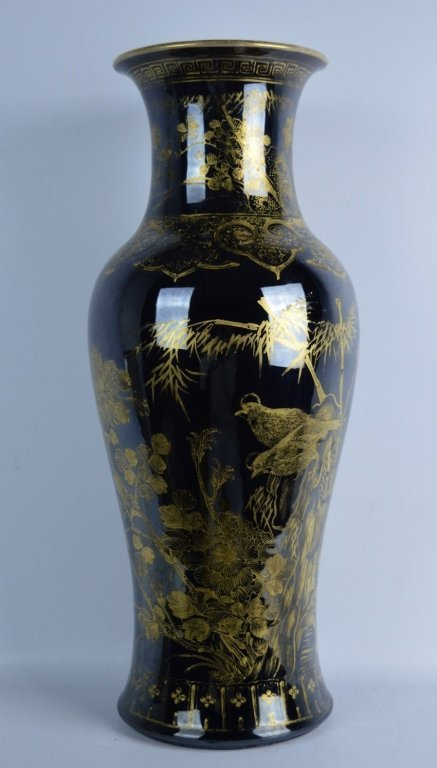 Chinese Mirror Black & Gold Painted Large Vase