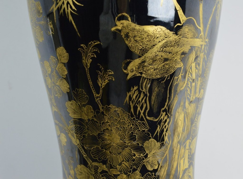 Chinese Mirror Black & Gold Painted Large Vase - 2