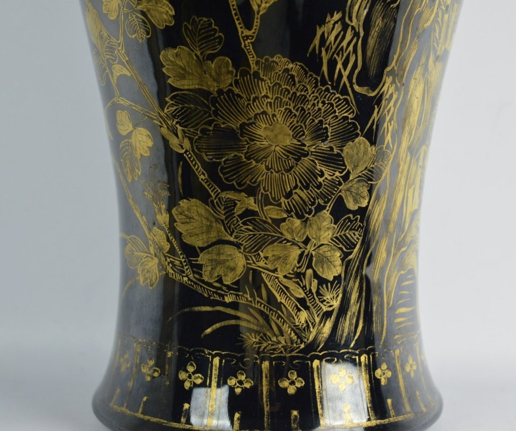 Chinese Mirror Black & Gold Painted Large Vase - 3