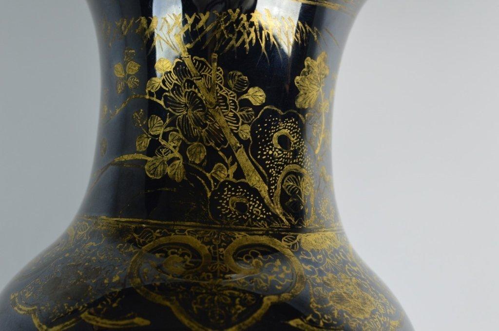 Chinese Mirror Black & Gold Painted Large Vase - 4