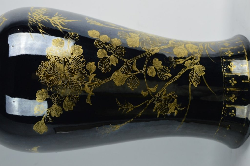 Chinese Mirror Black & Gold Painted Large Vase - 5