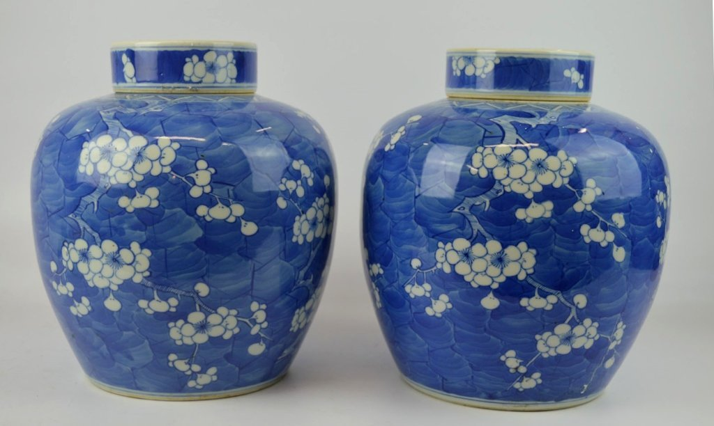 Good Pr. Late Qing Chinese Hawthorn Jars & Covers