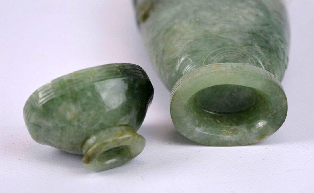Antique Chinese Carved Translucent Jadeite Vase - 10
