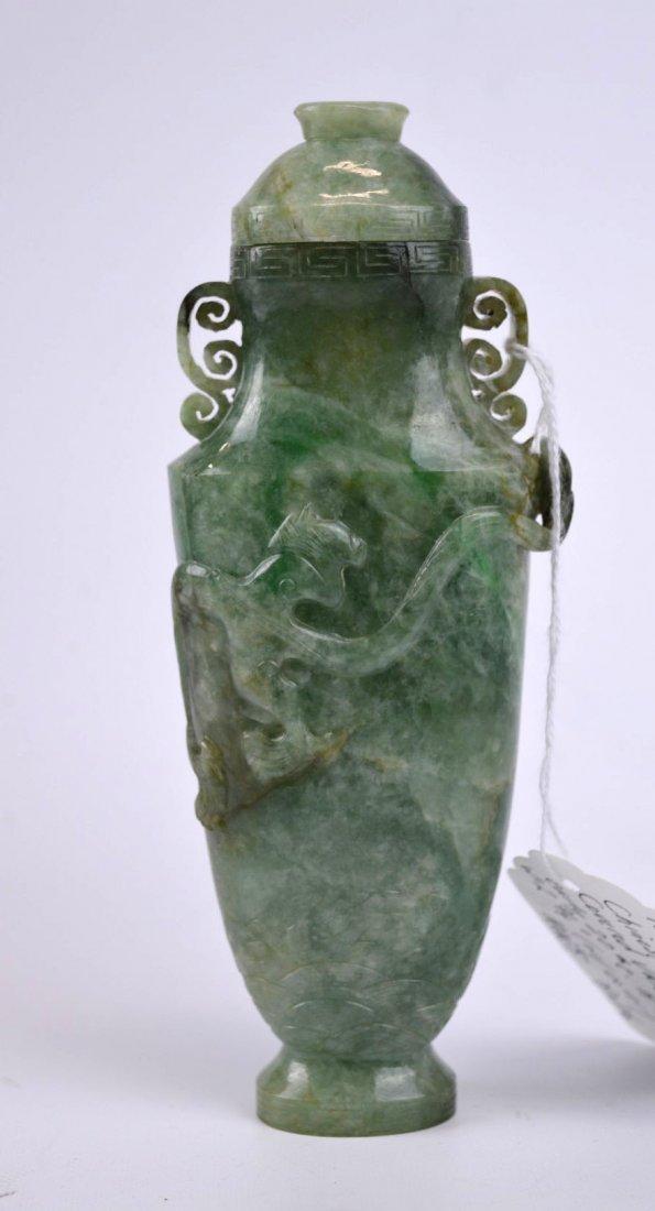 Antique Chinese Carved Translucent Jadeite Vase - 7