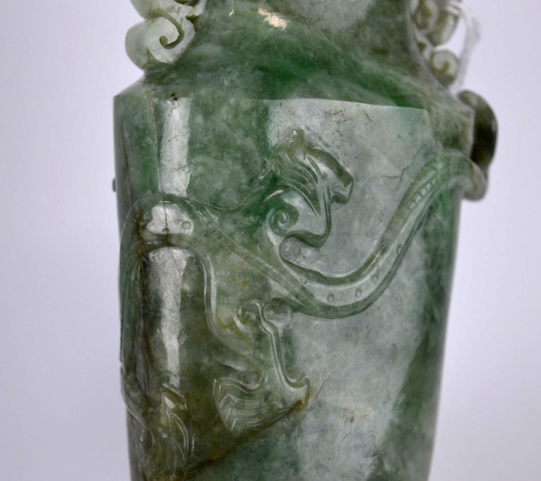 Antique Chinese Carved Translucent Jadeite Vase - 8