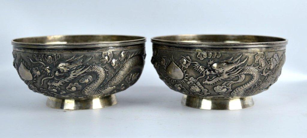 Fine Pr. Chinese Silver Dragon Bowls, W. A. Mark