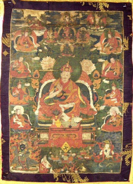17th C or Earlier Tibet Thanka of Lama