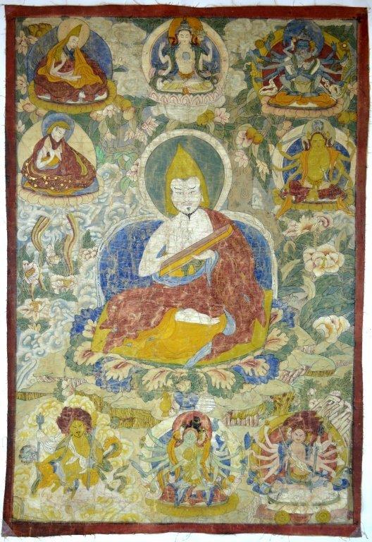 18th C Tibet Great Pandita Thanka