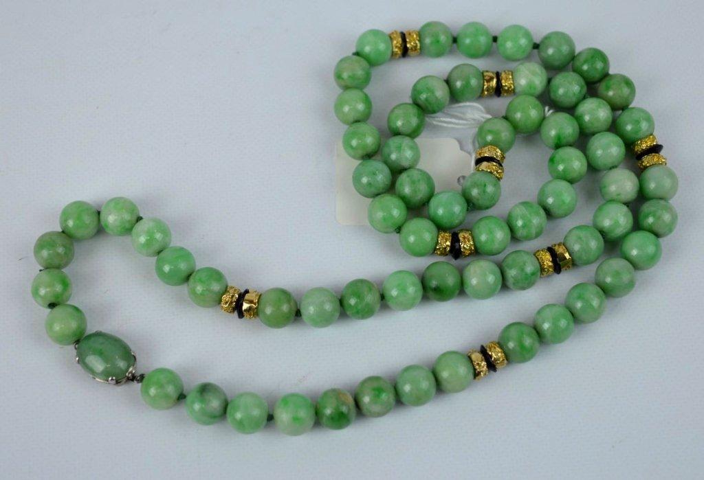 CARTIER - 1920's Natural Jadeite Bead Necklace