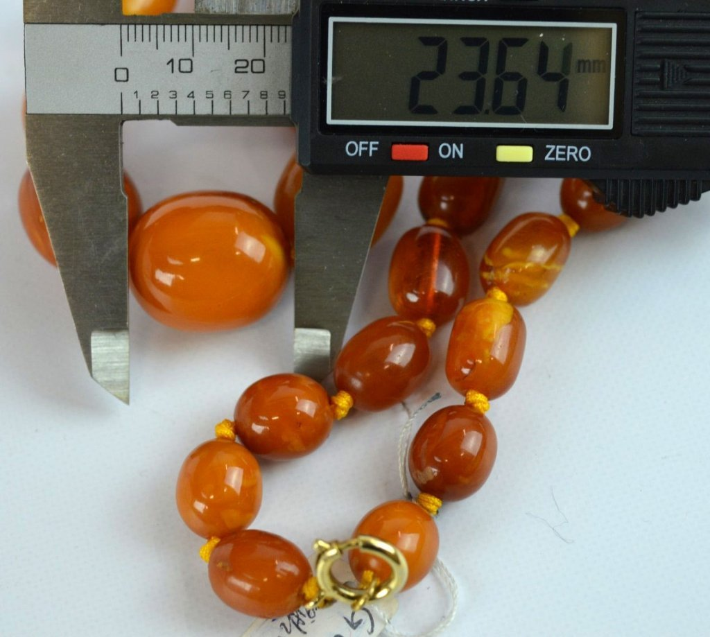 71 Grams of Butterscotch Amber Graduated Beads - 6