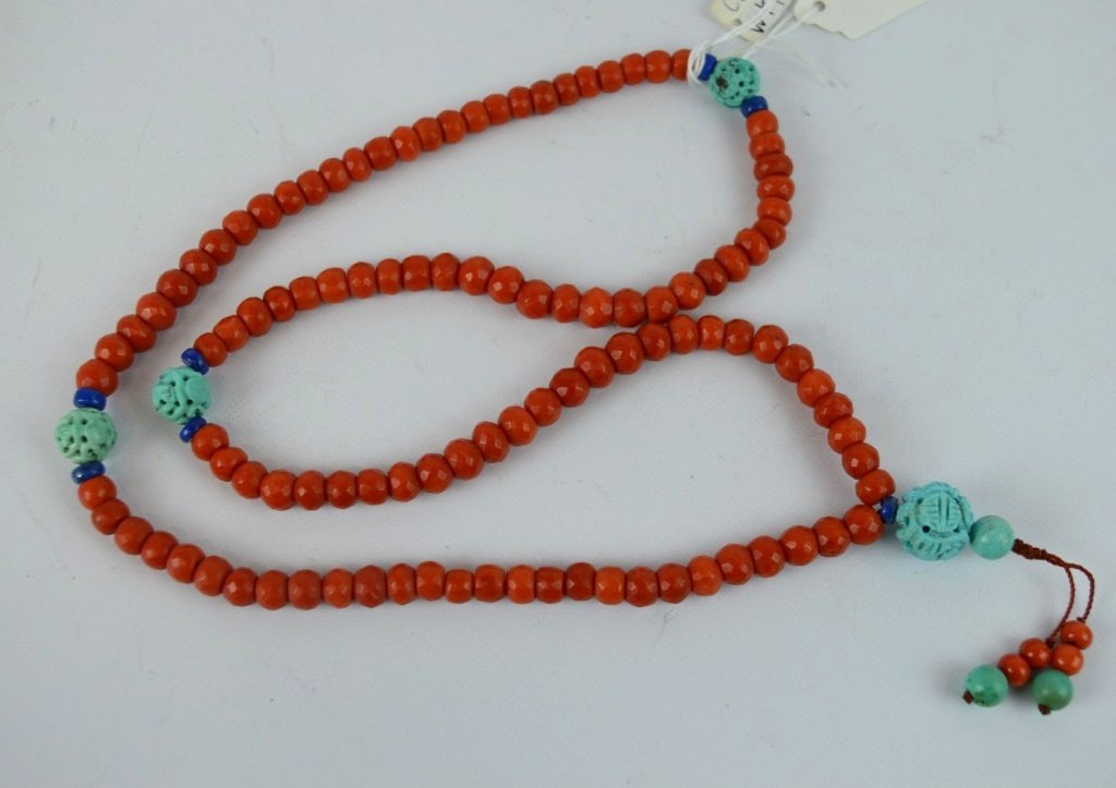 108 Antique Chinese Coral Bead & Turquoise Rosary