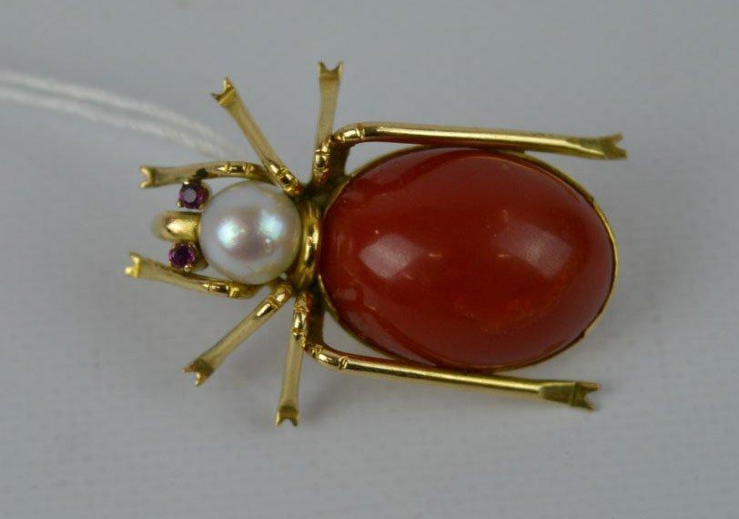 Pearl, Coral & 14K Beetle Pin marked KJ