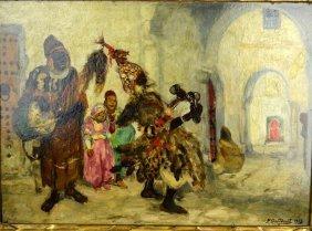 Pierre Gourdault; Oil, Musiciens Arabes 1913