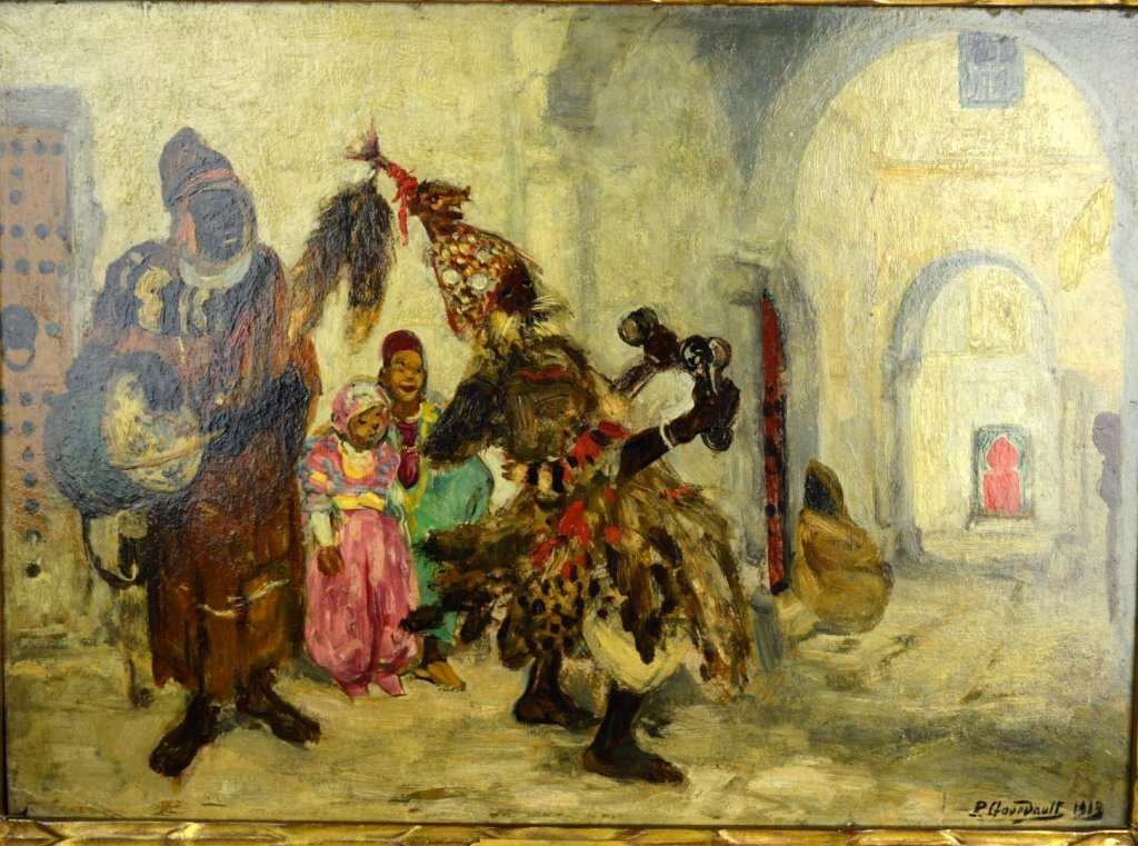 Pierre Gourdault; Oil, Musiciens Arabes 1913