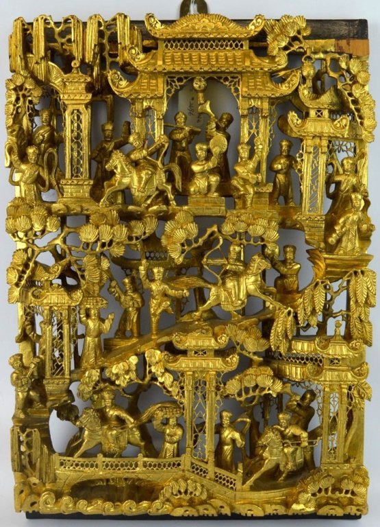 Chinese Well Carved & Gilt Wood Story Plaque